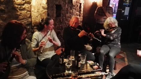 From left - Áine McCarthy-Kent, Áine Heslin, J.J. Conway (Tulla Céilí Band) and Rozanne from Boston.