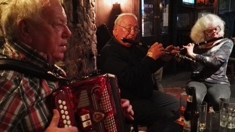Jimmy Clancy on accordion, J.J. Conway and Rozanne on flutes