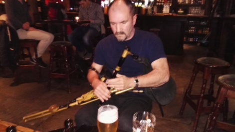 Kevin O'Connor visiting uilleann piper
