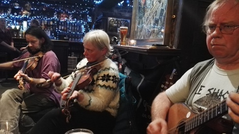 Quentin Cooper and Paula O'Regan on fiddle with Andy Lambert on bouzouki