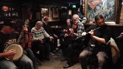 John, Patsy, Paula, Mick (taking a break) Mícheal, Jerry and - I'm sorry, I've forgotten our Italian flute-player's name!!