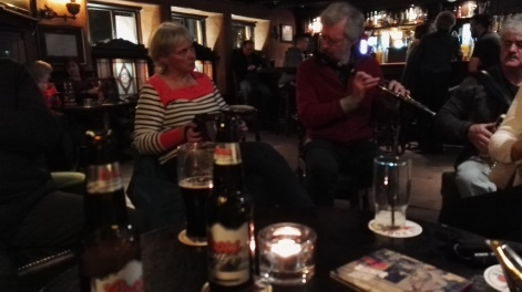Paula on concertina and Brian on flute. Michael on the accordion.