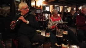 Bill on flute and Paula on concertina.