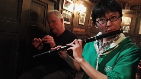 Howard in the background on tinwhistle and Satoshi on flute.