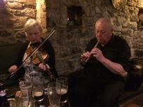 Paula O' Regan on fiddle and Jimmy Clancy on tinwhistle. Photo by Betty Connor.