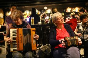 Patsy on piano accordion and Paula on concertina. Photo by Pat Keating.