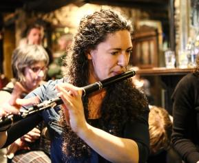 New resident in Ennis - Megan, from Canada. Lovely flute-playing! Photo taken by Pat Keating