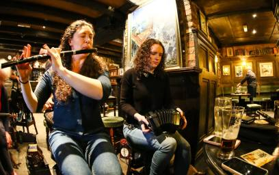 Flute player Megan, from Canada and Sorcha Curtin on concertina. Photo by Pat Keating.
